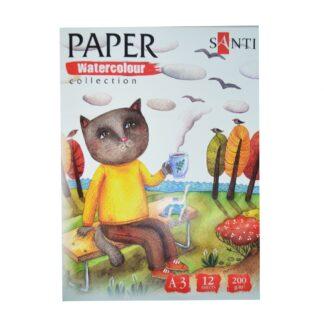 Набор акварельной бумаги  А3, Wonderland 12 лист, 200гр, Paper Watercolor Collection  Santi 742617