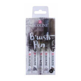 Набор кистей-ручек Ecoline Brushpen GREY 5 цв. Royal Talens