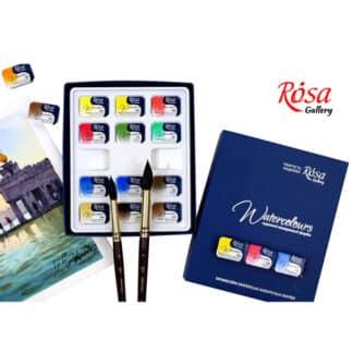 Набор акварельных красок «Классика» Rosa Gallery 12 цветов по 2,5 мл в кюветах картонная коробка