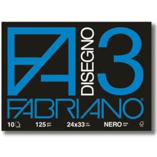 04001017 Альбом для пастели Disegno 3 nero 24х33 см 125 г/м.кв. 10 листов Fabriano Италия