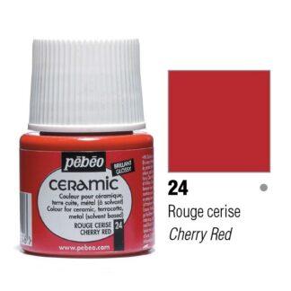 Краска-эмаль лаковая непрозрачная 024 Вишнево-красный 45 мл Ceramic Pebeo