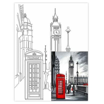Холст на картоне с контуром 30х40 см Города «Лондон» 4202 Rosa Talent
