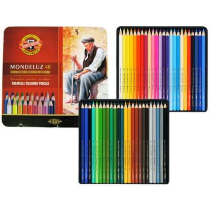 Набор акварельных карандашей Mondeluz 48 цветов в металлической коробке Koh-i-Noor