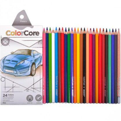 Карандаши 24 цв 3100-24CB Marco СolorCoreАвто (грифель4мм + 1ч / ч карандаш 2.9мм)