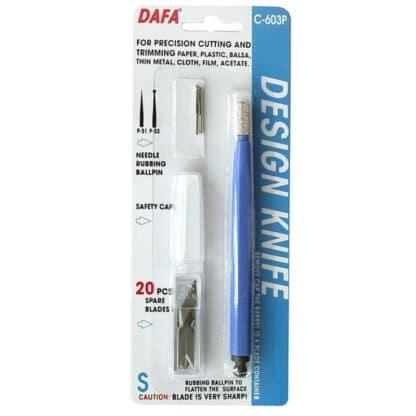 Нож макетный С-603 пластиковая ручка 20 одинаковых сменных лезвий DAFA