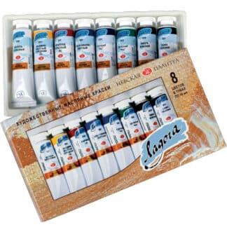Набор масляных красок Ладога 8 цветов по 18 мл картонная коробка ЗХК «Невская палитра»