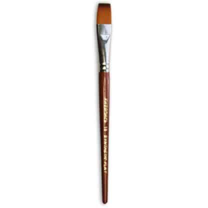 Кисточка «Живопись» 1122 Синтетика плоская № 16 короткая ручка рыжий ворс