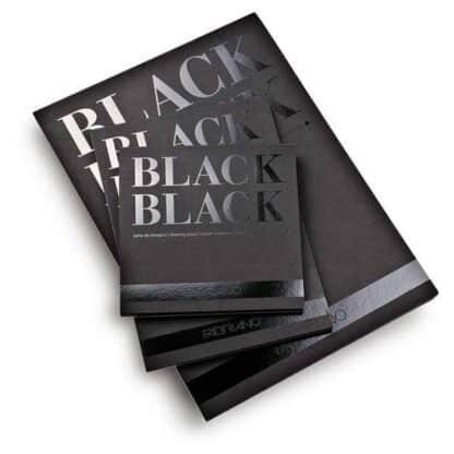 19100390 Альбом для эскизов Black Black А4 (21х29,7 см) 300 г/м.кв. 20 листов черной бумаги склейка Fabriano Италия