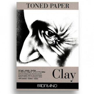 19100497 Альбом для эскизов Clay А4 (21х29,7 см) 120 г/м.кв. 50 листов серой бумаги склейка Fabriano Италия