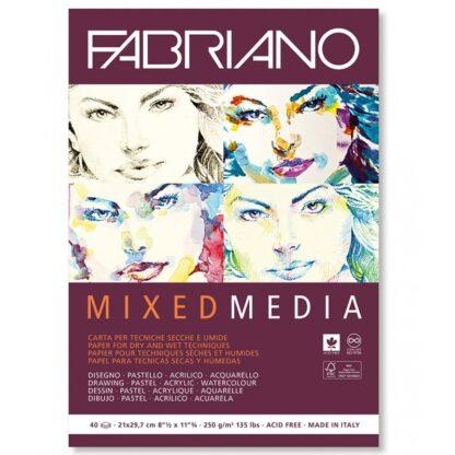 19100381 Альбом для рисования Mixed Media А4 (21х29,7 см) 250 г/м.кв. 40 листов белой бумаги склейка Fabriano Италия