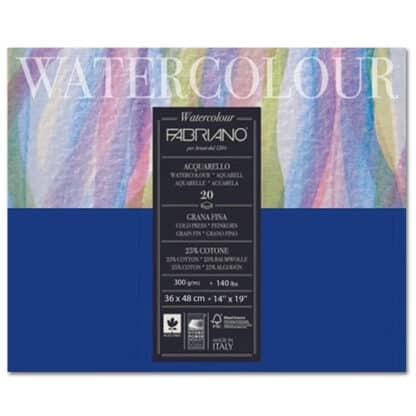 73613648 Альбом для акварели Watercolour 36х48 см 300 г/м.кв. 20 листов склейка с 4 сторон Fabriano Италия