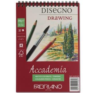 44201421 Альбом для влажных техник на спирали Accademia А5 (14,8х21 см) 200 г/м.кв. 30 листов Fabriano Италия