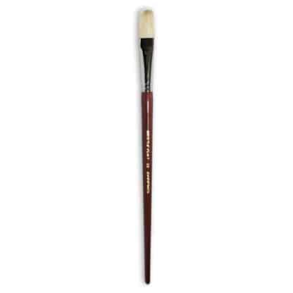 Кисточка «Живопись» 2112 Щетина плоская № 20 длинная ручка белый ворс