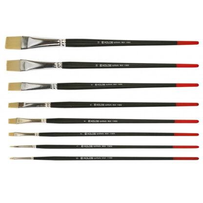 Кисточка «Kolos» Milk 1108B Синтетика плоская №04 длинная ручка белый ворс