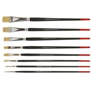 Кисточка «Kolos» Milk 1108B Синтетика плоская №12 длинная ручка белый ворс
