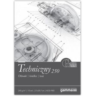 TEC2129К10  Склейка для черчения  Gamma 21х29,7см гладкий белый 10лист 250гр/м2, проклейка