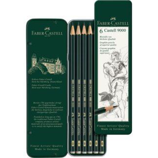 Набор чернографитных карандашей Castell 9000 6 штук H-8B в металлическом пенале Faber-Castell
