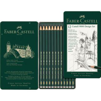 Набор чернографитных карандашей Castell 9000 12 штук 5B-5H в металлическом пенале Faber-Castell