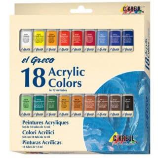 Набор акриловых красок 18 цв. х 12 мл El Greco в тубах, глянцевые, картон  KR-28251 C.KREUL
