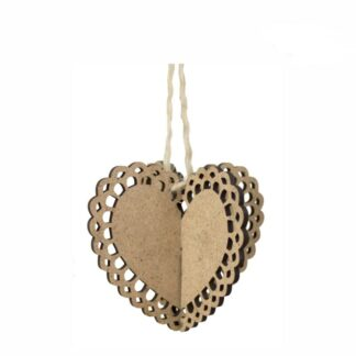 Заготовка Сердце 3Д ажурное-2 ДВП 10х10см, 2шт Rosa Talent