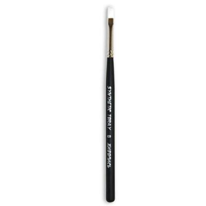 Кисточка Toray «Живопись» 1212 Синтетика плоская № 08 короткая ручка белый ворс