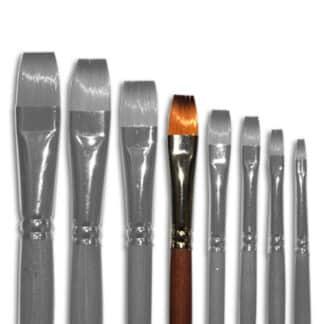 Кисточка «Живопись» 1112 Синтетика плоская № 10 длинная ручка рыжий ворс