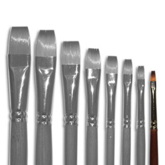 Кисточка «Живопись» 1112 Синтетика плоская № 02 длинная ручка рыжий ворс