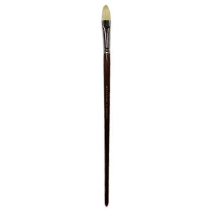 Кисточка «Живопись» 2121 Щетина овальная № 16 длинная ручка белый ворс