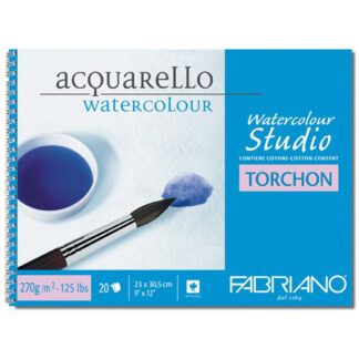 72702432 Альбом для акварели Watercolour Studio Torchon 24х32 см 270 г/м.кв. 12 листов на спирали Fabriano Италия