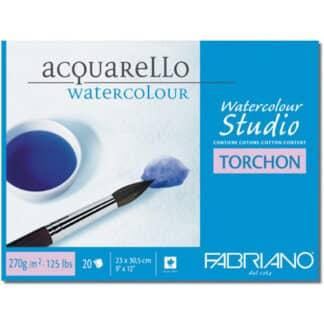 72702330 Альбом для акварели Watercolour Studio Torchon 23х30,5 см 270 г/м.кв. 20 листов склейка с 4 сторон Fabriano Италия