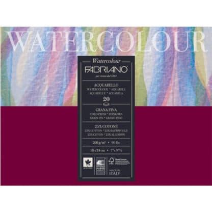 72611824 Альбом для акварели Watercolour 18х24 см 200 г/м.кв. 20 листов склейка с 4 сторон Fabriano Италия
