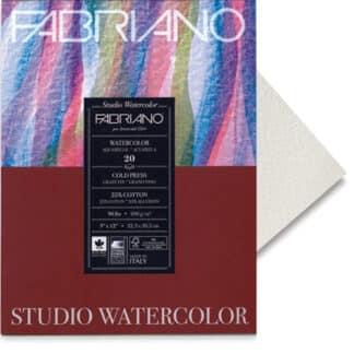 72612020 Альбом для акварели Watercolour 20х20 см 200 г/м.кв. 20 листов склейка с 4 сторон Fabriano Италия