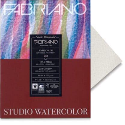 72613040 Альбом для акварели Watercolour 30х40 см 200 г/м.кв. 20 листов склейка с 4 сторон Fabriano Италия