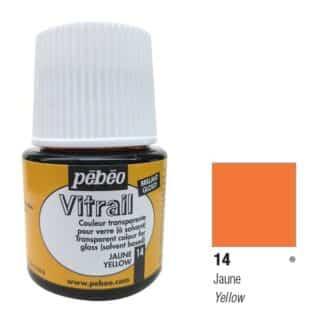 Краска по стеклу и металлу прозрачная Vitrail 014 Желтый 45 мл Pebeo