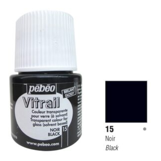 Краска по стеклу и металлу прозрачная Vitrail 015 Черный 45 мл Pebeo