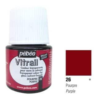 Краска по стеклу и металлу лаковая прозрачная Vitrail 026 Пурпурный 45 мл Pebeo