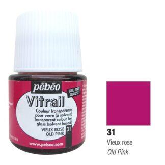 Краска по стеклу и металлу лаковая прозрачная Vitrail 031 Розовый старый 45 мл Pebeo