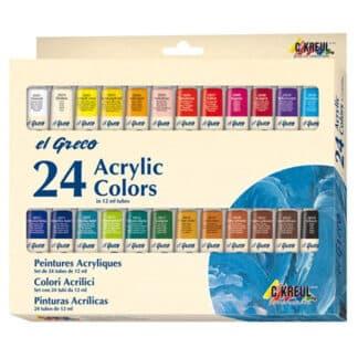 Набор акриловых красок 24 цв. х 12 мл El Greco в тубах, глянцевые, картон  KR-28253 C.KREUL