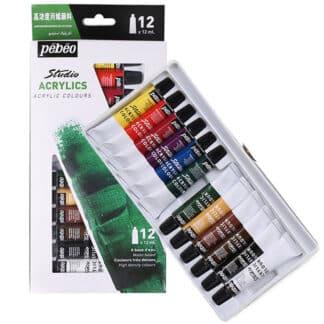 Набор акриловых красок Studio 12 цветов по 12 мл картонная коробка Pebeo