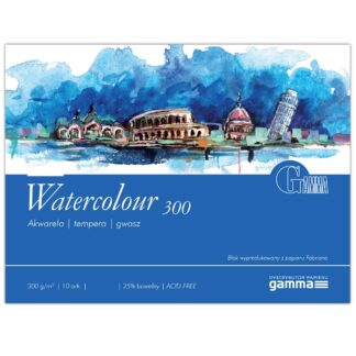 W3003040К10  Склейка для акварели Gamma Watercolour 30х40 см 10 листов 300 гр/м2, проклейка