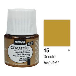 Краска-эмаль лаковая непрозрачная 015 Золото богатое 45 мл Ceramic Pebeo