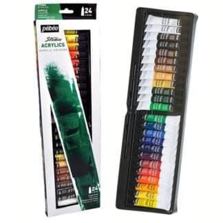 Набор акриловых красок Studio 24 цвета по 12 мл картонная коробка Pebeo