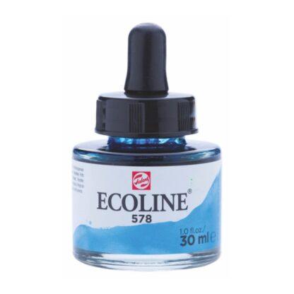 Акварельная краска жидкая Ecoline 578 Небесно-голубой (cyan) 30 мл с пипеткой