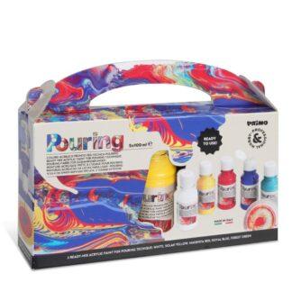 Набор акриловых красок с пурингом 5 цветов по 100 мл Primo