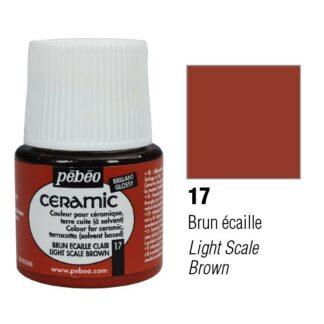 Краска-эмаль лаковая непрозрачная 017 Коричневый светлый 45 мл Ceramic Pebeo