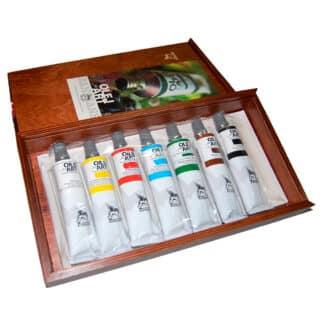 Подарочный набор масляных красок 7 цветов по 60 мл деревянный ящик (17х31 см) Renesans