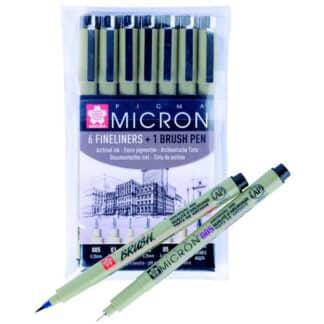 Набор линеров Pigma Micron 6 шт + Pigma Brush  Sakura POXSDK7B