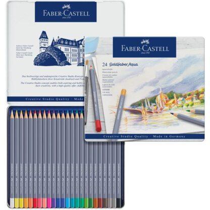 Набор акварельных карандашей Goldfaber Aqua 24 штуки в металлическом пенале Faber-Castell