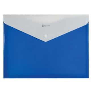 Папка конверт на кнопке А4 «Полоса» с расширением синяя Optima