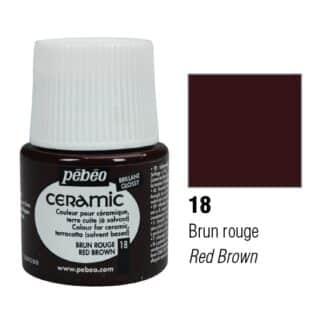 Краска-эмаль лаковая непрозрачная 018 Коричнево-красный 45 мл Ceramic Pebeo